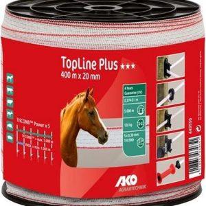 AKO TopLine Plus villanypásztor szalag fehér piros, 20mm, 400m, 5 vezetőszál, 120Kg, 0,374 Ω m 1
