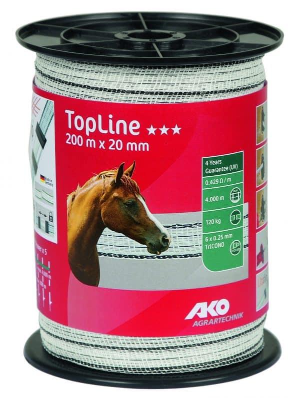 AKO TopLine villanypásztor szalag fehér fekete, 20mm, 200m, 6 vezetőszál, 120Kg, 0,429 Ω m