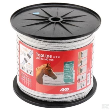 AKO TopLine villanypásztor szalag fehérfekete, 40mm, 200m, 10 vezetőszál, 230Kg, 0,258 Ωm