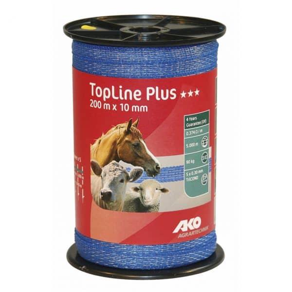 AKO TopLine Plus villanypásztor szalag kék, 10mm, 200m, 5 vezetőszál, 90Kg, 0,374 Ω m