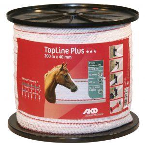 AKO TopLine Plus villanypásztor szalag fehér/piros, 40mm, 200m, 10 vezetőszál, 230Kg, 0,187 Ω/m