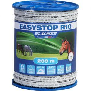 LACME Easystop R10 villanypásztor szalag fehérfeketes 10mm 200m 4 vezetőszál 60Kg 9,6 Ωm